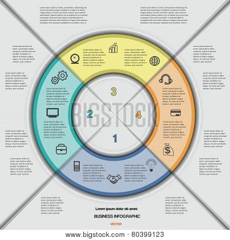 Business circular infographic for success project, workflow, web design, advertising banner