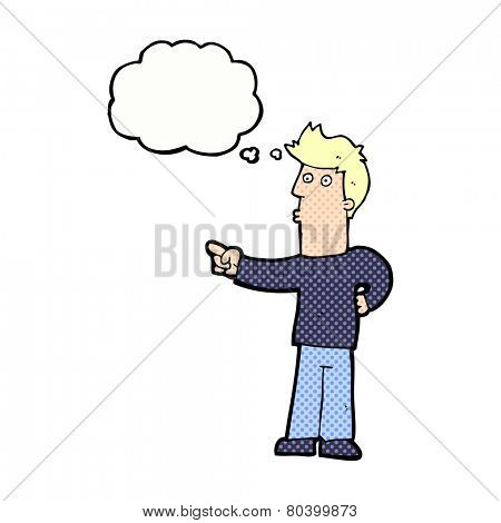cartoon curious man pointing with thought bubble