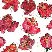picture of rose flower  - vector seamless floral pattern with roses flowers colored by watercolor with paint stains - JPG