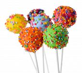stock photo of cake pop  - Sweet cake pops isolated on white - JPG
