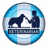 picture of vet  - Veterinarian With Dog Button is an illustration of a design for a vet or veterinarian on a button - JPG