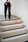 pic of blind man  - Blind Man Moving Down On Stairway Holding Stick - JPG