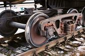 picture of train-wheel  - Old train wheel on a old track - JPG