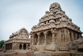 pic of tamil  - Five rathas complex with  in Mamallapuram - JPG
