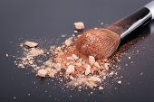 picture of face-powder  - Face foundation powder product with crumbled texture  - JPG