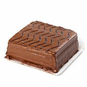 picture of chocolate fudge  - A chocolate fudge layer cake on white background - JPG