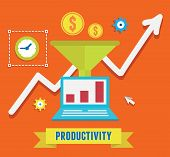 stock photo of productivity  - Flat concept of productivity business and growth  - JPG