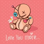 pic of voodoo  - Vector illustration with cute voodoo doll in unrequited love - JPG