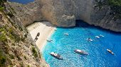 picture of shipwreck  - Beautiful beach with a shipwreck in Zakynthos Island - JPG