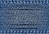foto of stitches  - Illustration of blue denim texture with stitch borders and banner - JPG