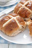 image of lent  - Hot Cross Buns traditionally eaten hot or toasted during Lent - JPG