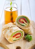 image of sandwich wrap  - tortilla wrap with vegetable and cheese fillings - JPG