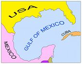 stock photo of gulf mexico  - Map of the Gulf of Mexico - JPG