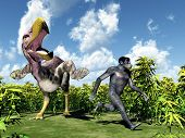 stock photo of homo  - Computer generated 3D illustration with the Homo Habilis and the prehistoric Terror Bird Kelenken - JPG