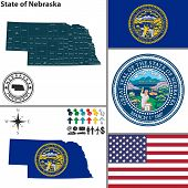 picture of nebraska  - Vector set of Nebraska state with flag and icons on white background - JPG