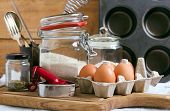 picture of cake-mixer  - Baking cake ingredients and cooking tools on board - JPG