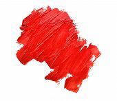 stock photo of lipstick  - the red smudged lipsticks on white background - JPG