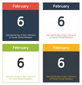 picture of genital  - 4 isolated calendar sheets in different color schemes for 6th February International Day of Zero Tolerance to Female Genital Mutilation - JPG