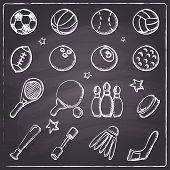 stock photo of blackboard  - Chalkboard style hand draw sports icons on blackboard - JPG
