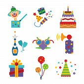 picture of beep  - Set of vector colorful celebration icons in flat style like pie champagne wineglass gift box air balloon funny mask cap and jack in the box - JPG