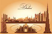 foto of dubai  - Dubai city skyline silhouette background vector illustration - JPG