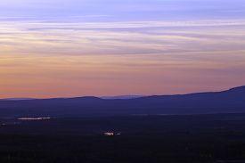 picture of nightfall  - Nightfall up North over lakes - JPG