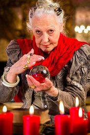 foto of oracle  - Female Fortuneteller or esoteric Oracle - JPG