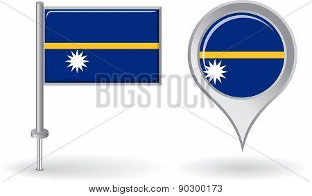 Nauru pin icon and map pointer flag. Vector