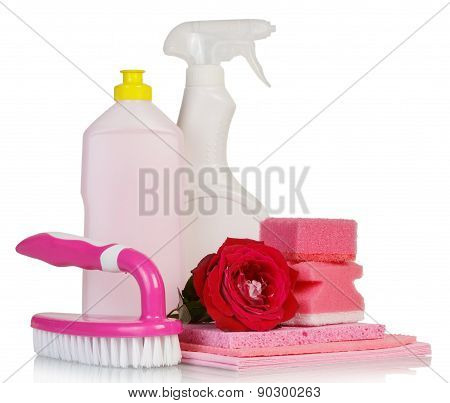 Cleaning products and red rose