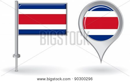 Costa Rican pin icon and map pointer flag. Vector