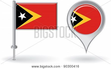 Timor-Leste pin icon and map pointer flag. Vector