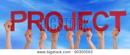 Hands Holding Red Straight Word Project Blue Sky