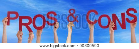 Hands Holding Red Word Pros And Cons Blue Sky
