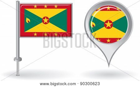 Grenada pin icon and map pointer flag. Vector