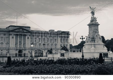 Buckingham Palace in the morning in BW in London.