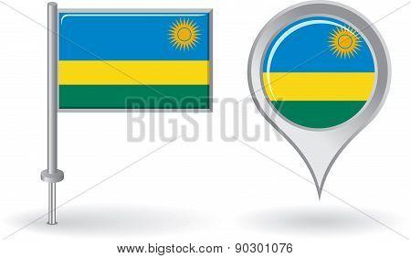Rwanda pin icon and map pointer flag. Vector