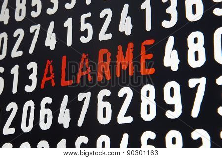 Computer Screen With Alarme Text On Black Background