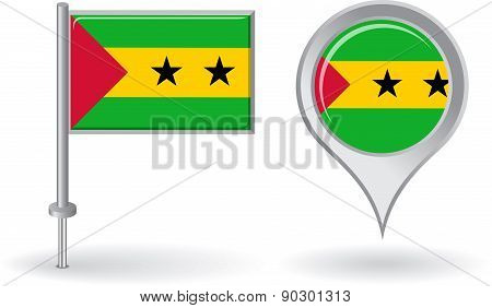 Sao Tome and Principe pin icon, map pointer flag. Vector
