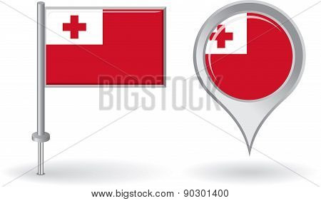 Tonga pin icon and map pointer flag. Vector