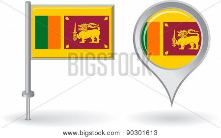 Sri Lanka pin icon and map pointer flag. Vector