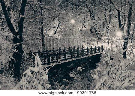 Central Park winter bridge in midtown Manhattan New York City