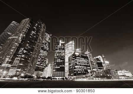 Singapore skyline at night with urban buildings