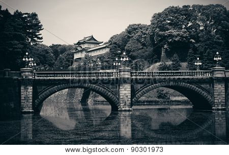 Tokyo Imperial Palace with bridge over river. Japan.