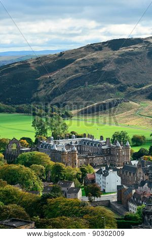 Edinburgh city and mountain viewed from Calton Hill. United Kingdom.