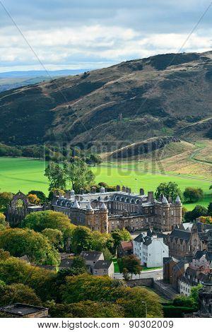 Edinburgh city and mountain viewed from Calton Hill. United Kingdom.