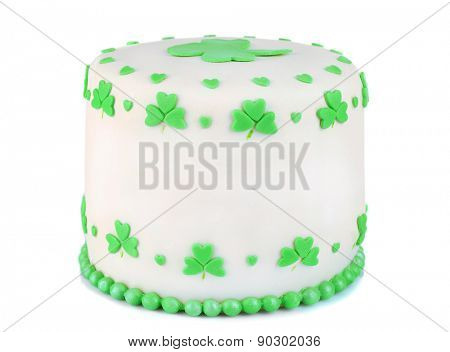 Delicious cake for Saint Patrick's Day isolated on white