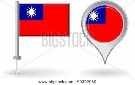 Burma pin icon and map pointer flag. Vector