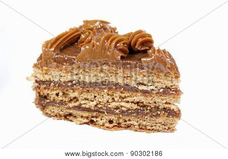 Piece Of Cake With Honey Shortcakes, Cream Boiled Condensed Milk  .