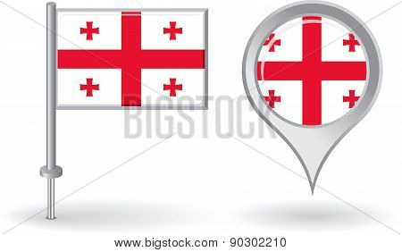 Georgian pin icon and map pointer flag. Vector