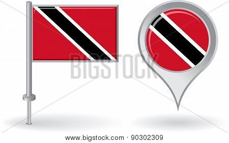 Trinidad and Tobago pin icon, map pointer flag. Vector